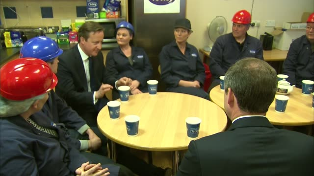 david cameron visit to tetley tea england stocktonontees tetley factory david cameron mp sitting chatting and drinking for tea with staff on visit to... - tea cup stock videos and b-roll footage
