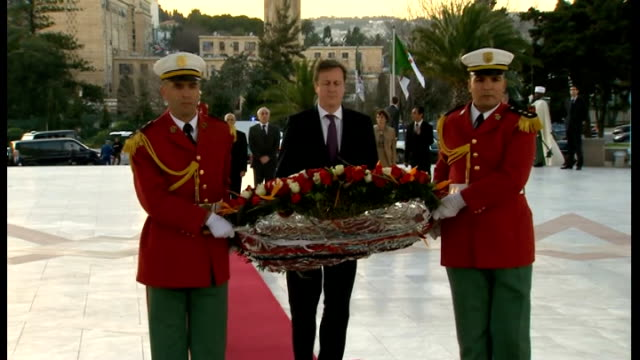 david cameron visits algeria and offers support against terrorism algeria algiers photography*** various shots of david cameron mp laying wreath at... - アルジェリア人質事件点の映像素材/bロール