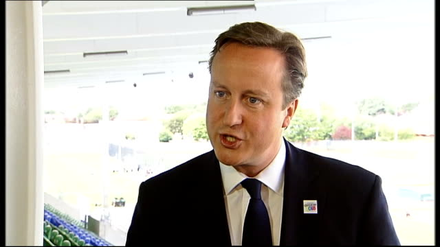 David Cameron visits athletes in Glasgow David Cameron MP SOT re how disappointed no gold medal yet they're performing well riding today gymnastics...