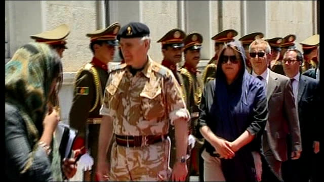 david cameron visits british troops; kabul: ext * * beware flash photography * * afghan soldiers lined up outside presidential palace / soldiers... - union army stock videos & royalty-free footage