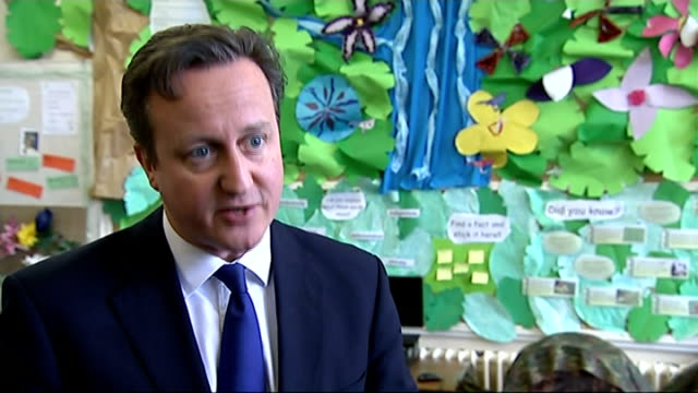 david cameron visits chester school england cheshire chester int david cameron mp interview sot - chester cheshire stock-videos und b-roll-filmmaterial