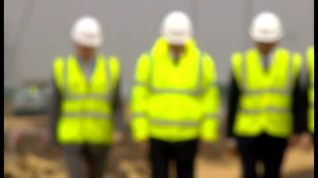 david cameron visits construction site in east yorkshire england east yorkshire goole ext david cameron mp interview on economic plan for yorkshire... - 訪問点の映像素材/bロール