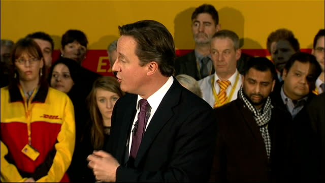 david cameron visits dhl express headquarters: question and answer session; cameron answering questions sot - on why he wants to stay outside the... - interest rate stock videos & royalty-free footage