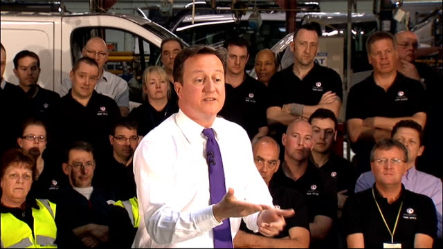 david cameron visits general motors factory; david cameron q & a session sot **flash photography** q: re defence review - brought forward some of the... - general motors stock videos & royalty-free footage