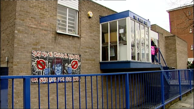 david cameron visits hackney youth club england london hackney the pedro club ext general view of the pedro club and entrance sign/ 'say no to guns... - youth club stock videos & royalty-free footage