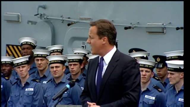 david cameron visits hms ark royal in canada; david cameron speech continued sot - sometimes the royal navy can feel forgotten, in afghanistan the... - 証書点の映像素材/bロール