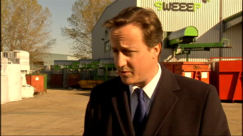 david cameron visits kent recycling centre; david cameron mp interview sot - need to know who made decision to broadcast it, how high up editorial... - editorial stock videos & royalty-free footage
