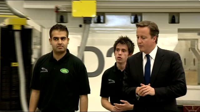 david cameron visits land rover factory england west midlands coventry int model of sports car on display on table / david cameron mp touring land... - fibreglass stock videos and b-roll footage