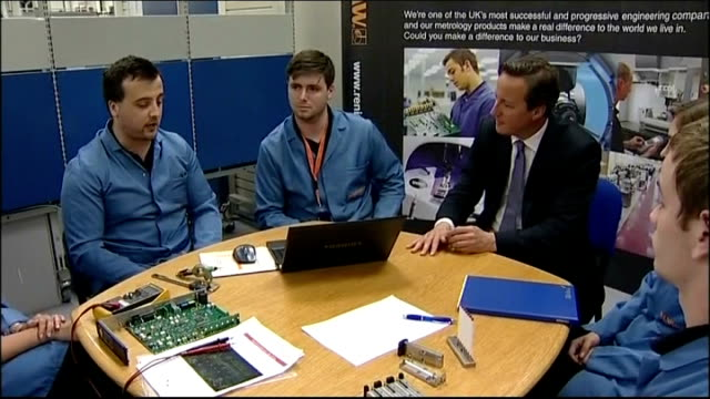 david cameron visits renishaw plc; england: gloucestershire: woodchester: renishaw: int david cameron mp along into room and meeting group of... - plc stock videos & royalty-free footage