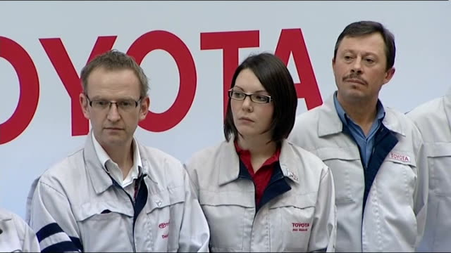 David Cameron visits Toyota car factory in Derbyshire ENGLAND Derbyshire Burnaston INT Various of Toyoto workers listening to introductory speech SOT...
