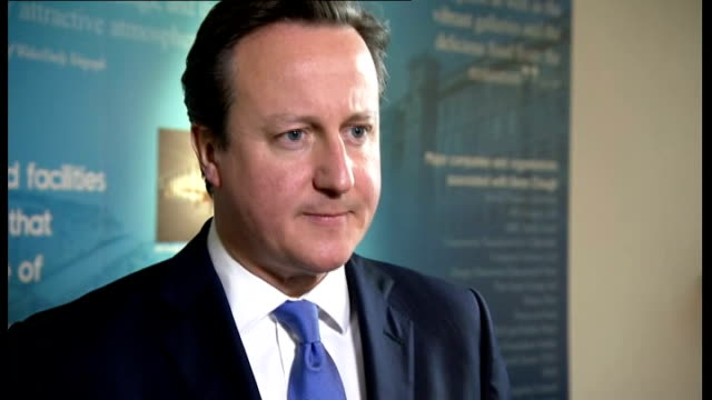 david cameron visits yorkshire and unveils conservative party campaign poster david cameron mp interview sot on launch of general election campaign... - エド ミリバンド点の映像素材/bロール