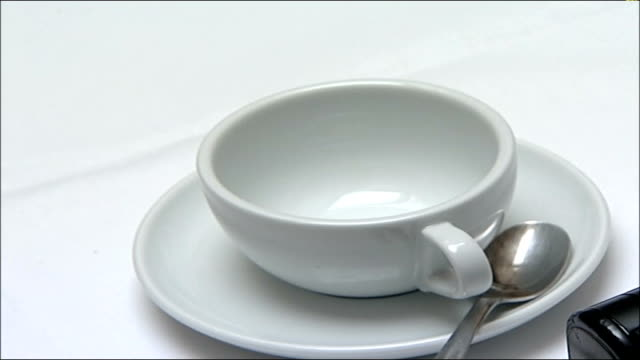 david cameron vows for more women mps int david cameron mp leaving table of female candidates close up of empty cup and saucer press photogrpahers... - saucer stock videos and b-roll footage