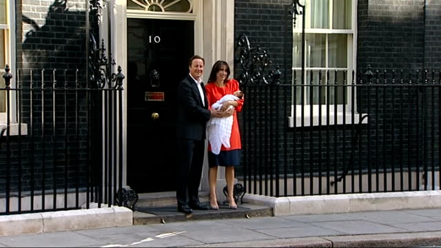 stockvideo's en b-roll-footage met david cameron's father dies lib downing street ext david cameron photocall on steps of number 10 with wife samantha cameron and new baby florence... - number 9