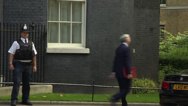 david cameron's final day in office: cabinet departures; bbc pool england: london: downing street: ext cabinet deparures on prime minister david... - 男爵夫人点の映像素材/bロール