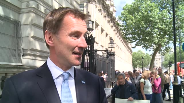 david cameron's final day in office jeremy hunt mp along jeremy hunt mp interview sot there was a feeling across the cabinet of great pride at what... - last day stock videos & royalty-free footage
