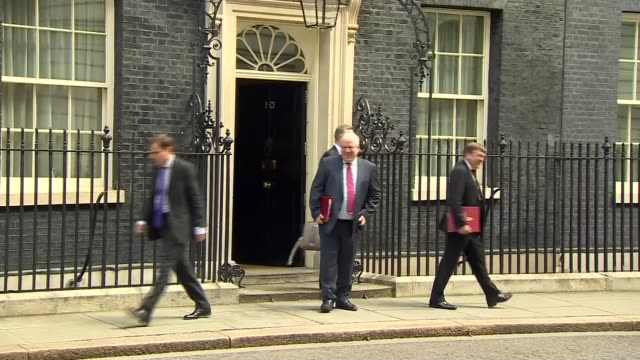 david cameron's final day in office michael gove mp john whittingdale mp and patrick mcloughlin mp departing number 10 - patrick mcloughlin stock videos and b-roll footage
