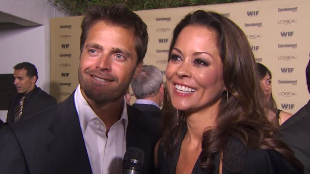 david charvet and brooke burke on starting off the emmy weekend with at entertainment weekly and women in film party on the excitement around emmy... - brooke burke stock videos and b-roll footage