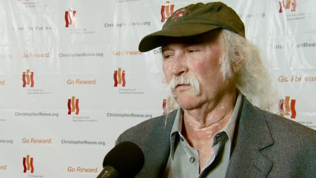 david crosby on being close friends with robin williams and marsha williams and meeting christopher reeve and dana reeve through them and on robin... - christopher and dana reeve foundation stock videos and b-roll footage