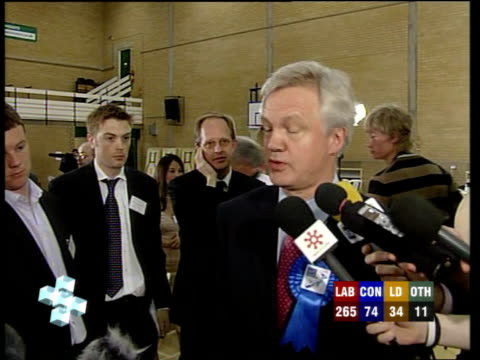david davis speaks to press sot - it's disappointing that we've not won power, but it's a huge vindication of michael howard's strategy, a strategy i... - david dimbleby stock videos & royalty-free footage
