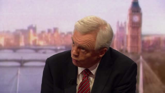 stockvideo's en b-roll-footage met david davis talking about geoffrey cox's suggestion of an arbitration panel to help negotiate brexit - andrew marr