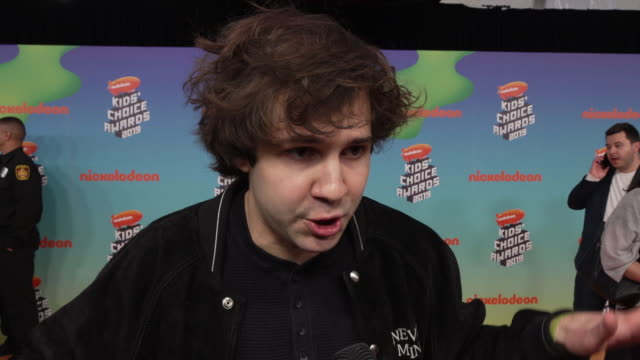 david dobrik on being at the show, being there at nickelodeon's kids' choice awards 2019 in los angeles, ca 3/23/19 - nickelodeon stock videos & royalty-free footage