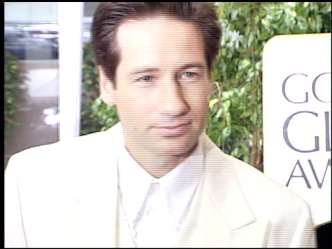 david duchovny at the 1996 golden globe awards at the beverly hilton in beverly hills, california on january 21, 1996. - 1996 stock videos & royalty-free footage