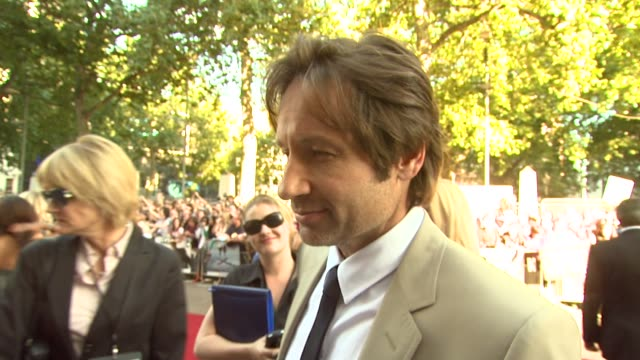 David Duchovny on whether the fans are scary on Gillian Anderson on whether heÕd be a good godfather to AndersonÕs unborn child on sequels on opening...