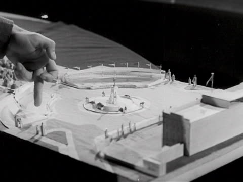 David Eccles looks at a scale model of the Coronation procession route from Buckingham Palace