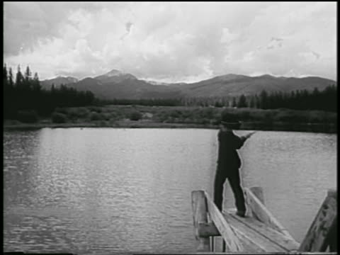 david eisenhower casting line off of dock into lake / colorado - 1954 stock videos and b-roll footage