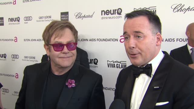 INTERVIEW David Furnish Elton John at Elton John AIDS Foundation Presents 21st Annual Academy Awards Viewing Party 2/24/2013 in West Hollywood CA