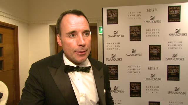 David Furnish on giving Tim Walker the award on British fashion on keeping British fashion in Britain and on what he's producing at the moment and...