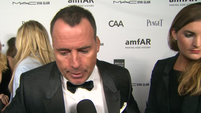 David Furnish on his longtime support of amfAr why it's an important organization to support what he's most looking forward to why Kevin Huvane is...