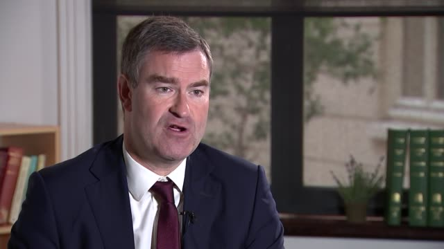 stockvideo's en b-roll-footage met london int david gauke mp interview sot on renationalisation of the probation service on theresa may's leadership / brexit talks with labour / brexit... - probatie