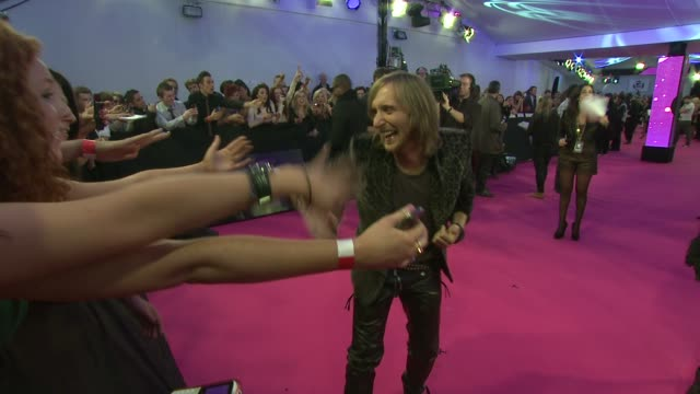 david guetta and taio cruz at the mtv europe music awards 2011 arrivals at belfast northern ireland. - mtv video music awards stock videos & royalty-free footage