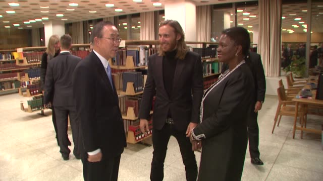 David Guetta UN SecretaryGeneral Ban Kimoon and UN UnderSecretaryGeneral for Humanitarian Affairs and Emergency Relief Coordinator Valerie Amos at...