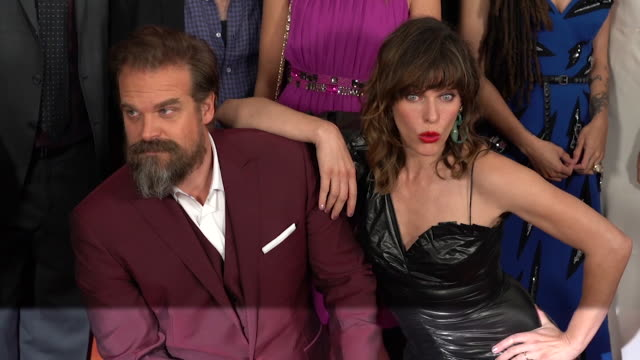 David Harbour and Milla Jovovich at 'Hellboy' New York Special Screening at AMC Lincoln Square Theater on April 09 2019 in New York City