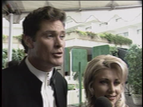 david hasselhoff and wife pamela hasselhoff at 1996 golden globes - pamela bach stock videos & royalty-free footage