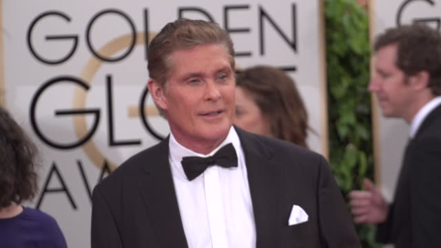 david hasselhoff at 73rd annual golden globe awards - arrivals at the beverly hilton hotel on january 10, 2016 in beverly hills, california. 4k... - david hasselhoff stock videos & royalty-free footage