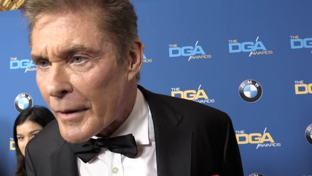 """david hasselhoff has revealed he is not reprising his original baywatch character in the new film version but will play """"the rock's mentor"""". the... - david hasselhoff stock videos & royalty-free footage"""