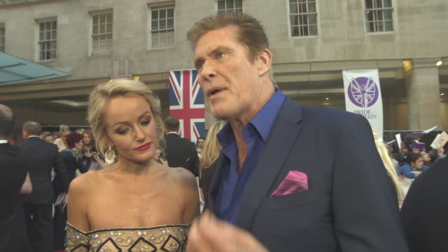 david hasselhoff, hayley roberts on being proud to give an award, meeting the real hero's, personal pride, pride in mankind the daily mirror's pride... - david hasselhoff stock-videos und b-roll-filmmaterial