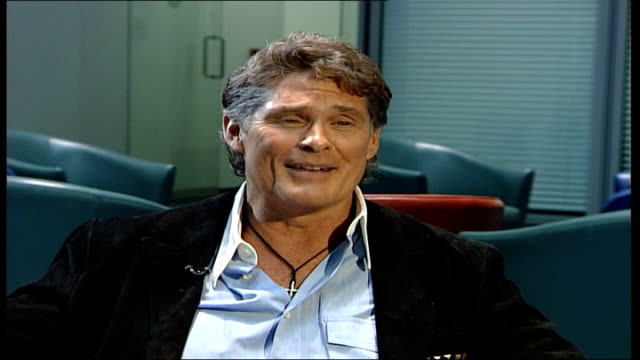 david hasselhoff launches autobiography and uk music single; england: london: gir: int david hasselhof interview sot - we made it cool but a bit... - david hasselhoff stock videos & royalty-free footage