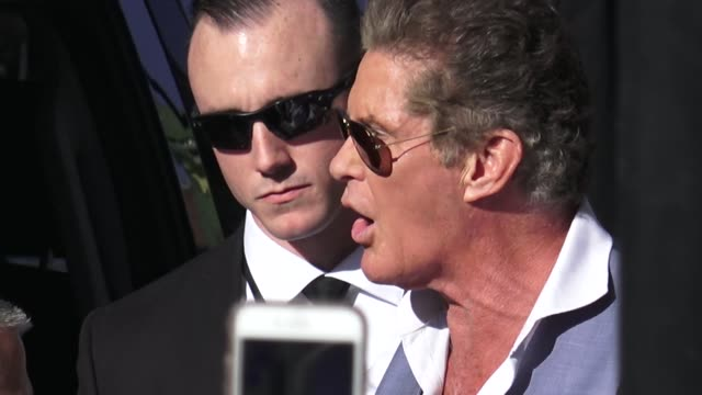 David Hasselhoff signs for fans outside the AntMan and the Wasp premiere in Hollywood in Celebrity Sightings in Los Angeles