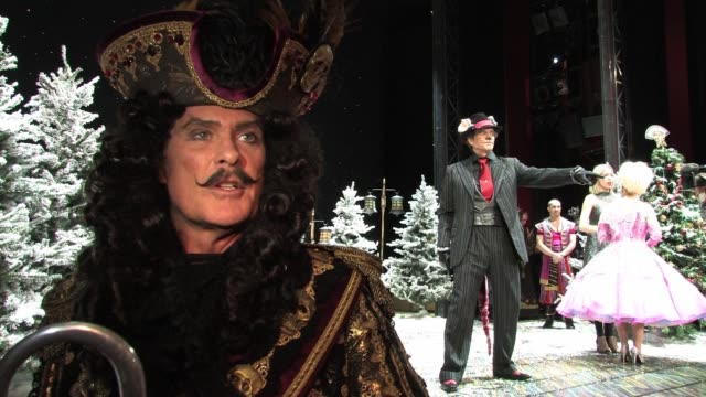 david hasselhoff talks about his upcoming performances as captain hook in the pantomime peter pan which is due to be performed in wimbledon over the... - pantomime stock videos and b-roll footage