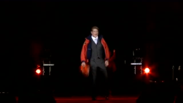 """david hasselhoff talks about new show; hasselhoff and cast rehearsing part of the show dedicated to """"baywatch"""" - david hasselhoff stock videos & royalty-free footage"""