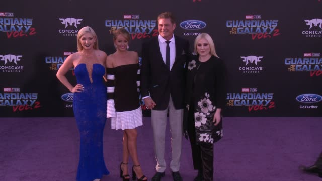 """david hasselhoff, taylor ann hasselhoff and hayley hasselhoff at the """"guardians of the galaxy vol. 2"""" los angeles premiere at dolby theatre on april... - david hasselhoff stock videos & royalty-free footage"""
