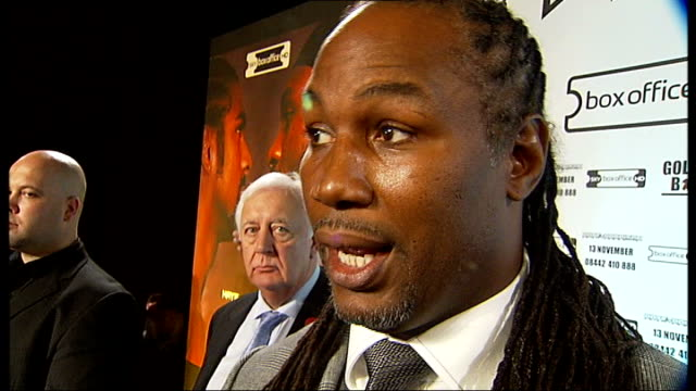 david haye and audley harrison photocall at weighin lennox lewis stands between them lennox lewis interview sot reporter to camera - david haye stock videos and b-roll footage