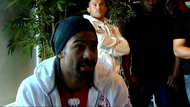 david haye and dereck chisora press conference ahead of fight haye interview sot chisora interview sot general views of haye v chisora fight poster - david haye stock videos and b-roll footage