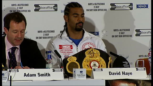 david haye and wladimir klitschko press conference; england: london: int **warning some flash photography ** wbo super world champion belts on... - good condition stock videos & royalty-free footage