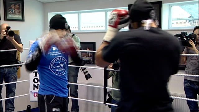 david haye boxing in ring during training session - david haye stock videos and b-roll footage