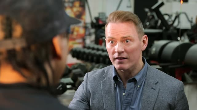 london int david haye interview with reporter sot - david haye stock videos and b-roll footage
